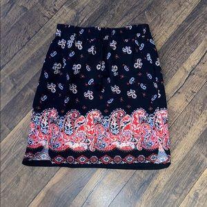 Loft Paisley Print Skirt Sz XSP